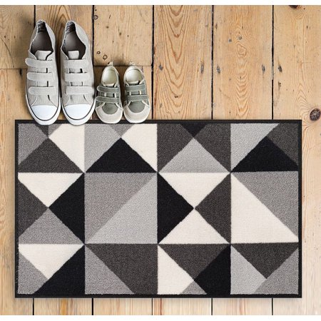 Well Woven Non-Skid/Slip Rubber Back Antibacterial 2x3 (2' x 3') Lex Casual Geo Grey Black White Geometric Modern Thin Low Pile Machine Washable Indoor Outdoor Kitchen Hallway Entry ()