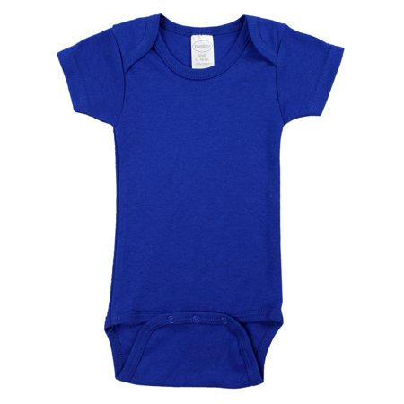(Blue Interlock Short Sleeve Bodysuit Onezie)