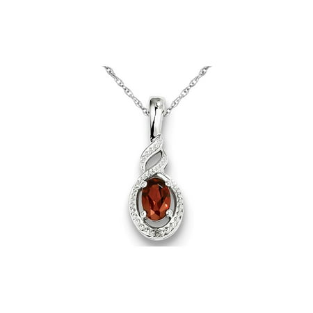 Garnet Sterling Silver Necklace - Natural Red Garnet 1/2 Carat (ctw) Pendant Necklace in Sterling Silver with Chain