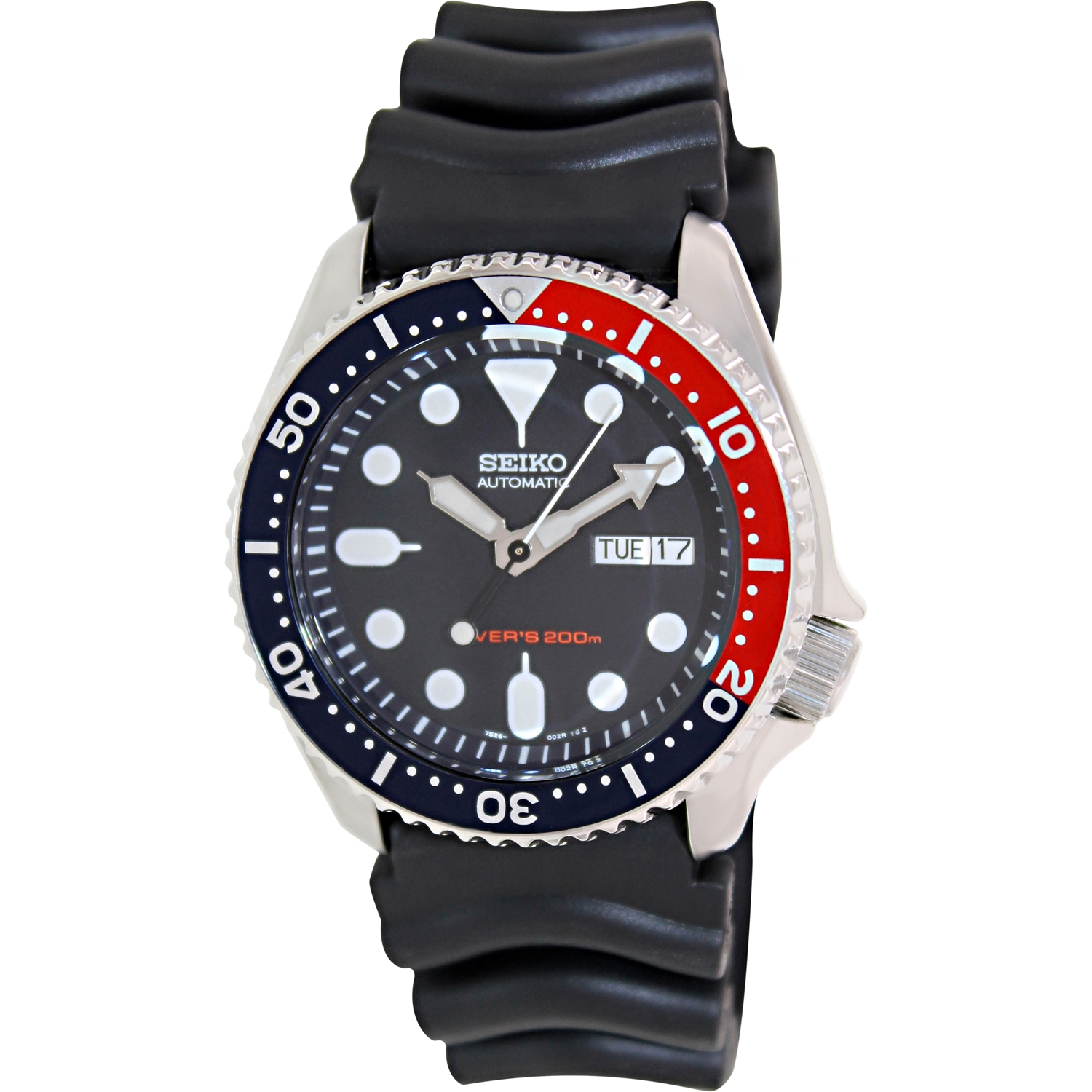 Seiko Men's Automatic SKX009K Black Rubber Self Wind Divi...