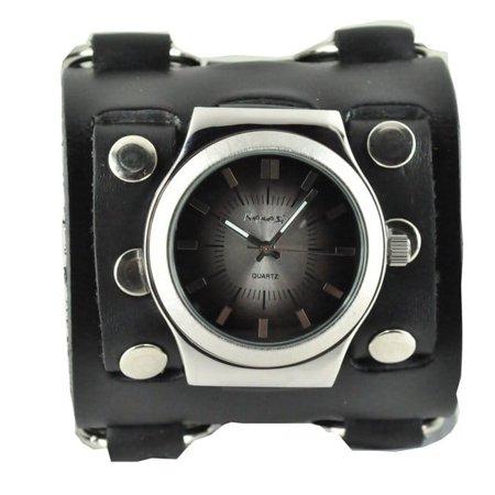 Nemesis  Men's Wide Sunrise Black Leather Cuff Watch ()