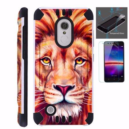 For LG Aristo LV3 / LG Rebel 2 / LG K8 2017 / LG Fortune / LG K4 2017 / LG  Phoenix 3 / LG Risio 2 Case + Tempered Glass Dual Layer Brushed Texture