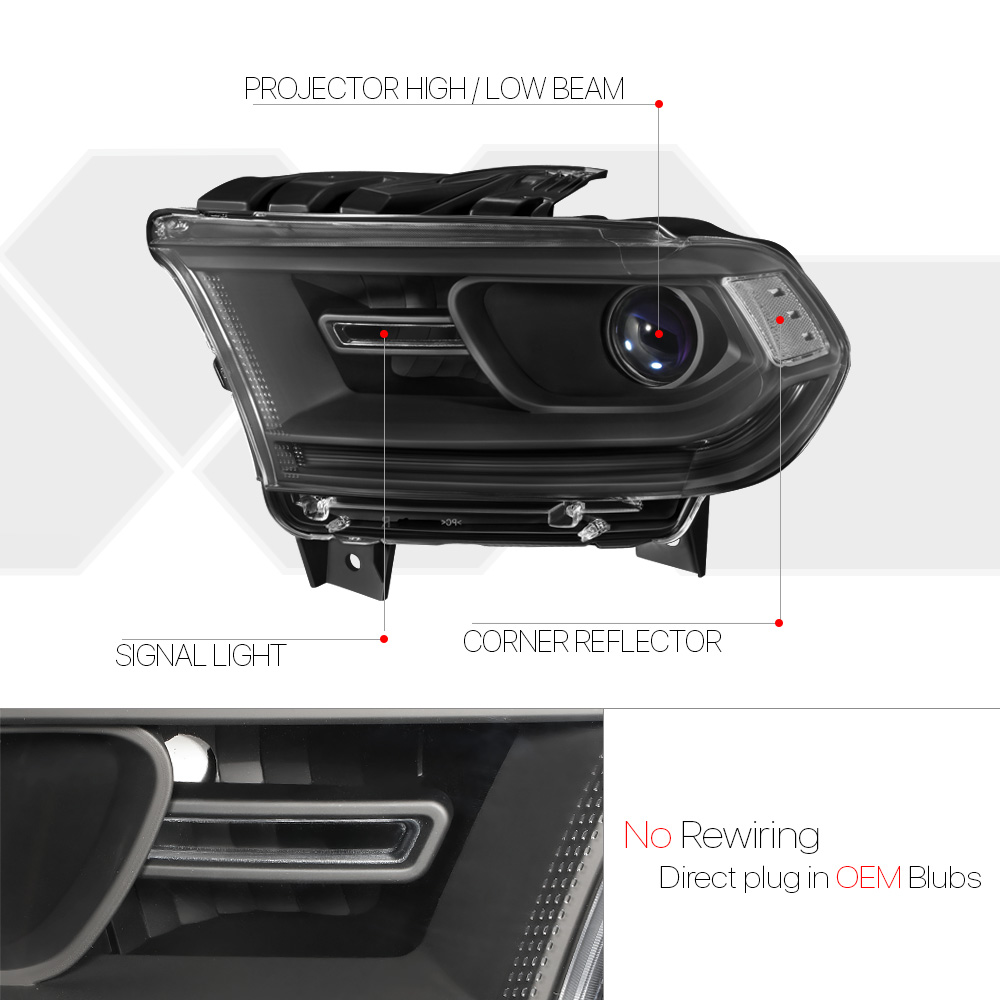 Black Projector Headlight Clear Corner Signal Reflector for 14-20 Dodge Durango