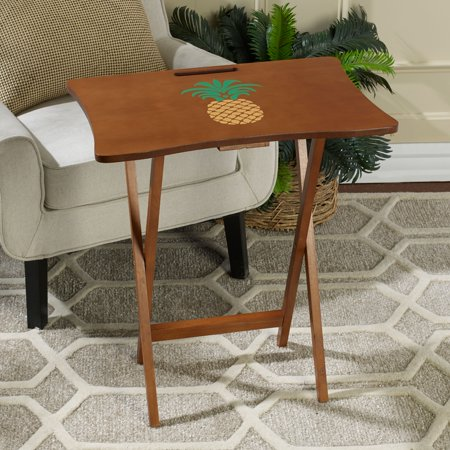 Elements Solid Brown Wood Pineapple Design Folding Tray Table