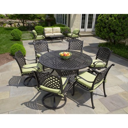 "Nassau Cast Aluminum 7pc Patio Dining Set with 60"" Round Table"