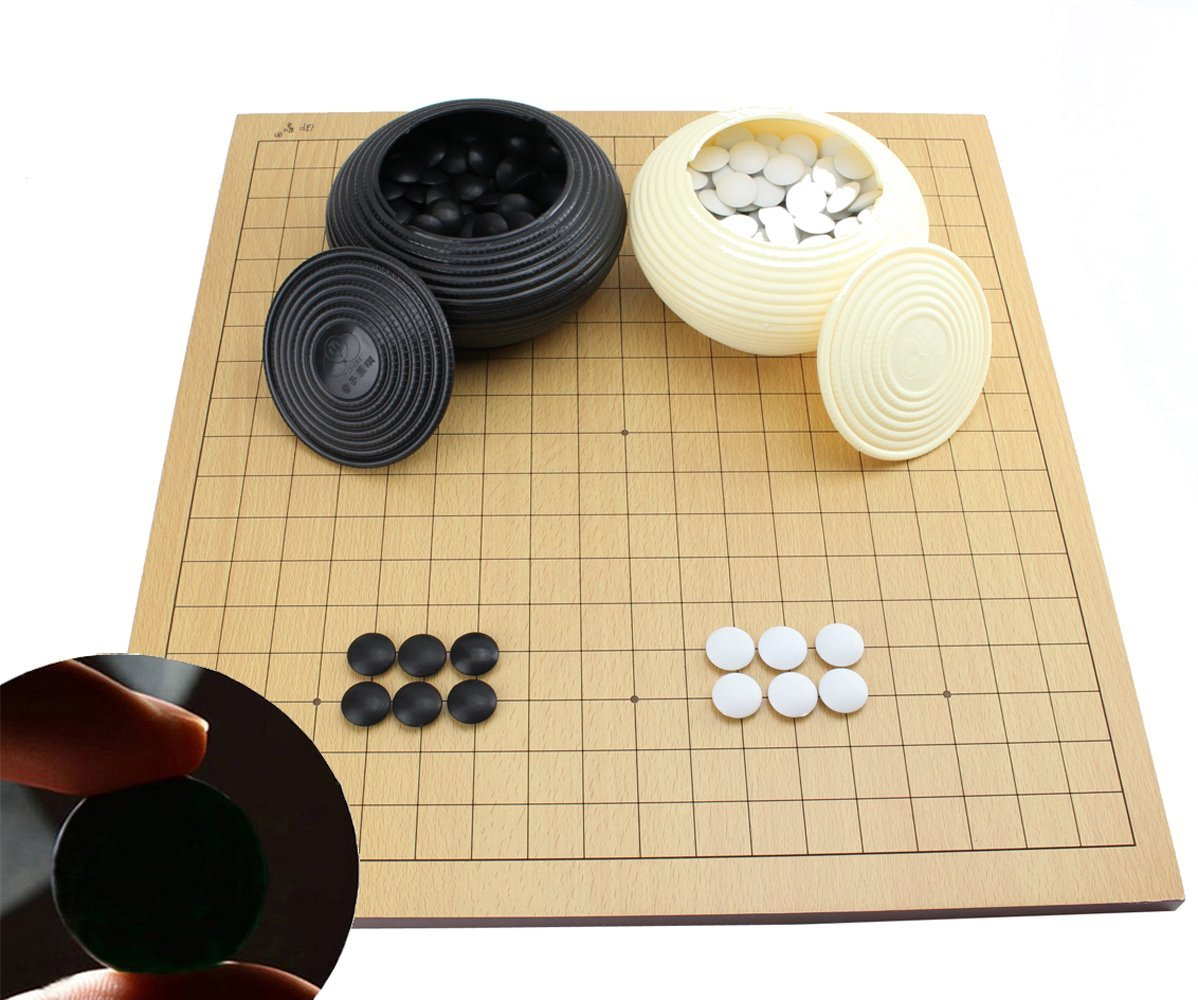 Go Game Set With a Wooden Board ~ Double Convex Plastic Stones and Plastic Bowls by Smiling Juju