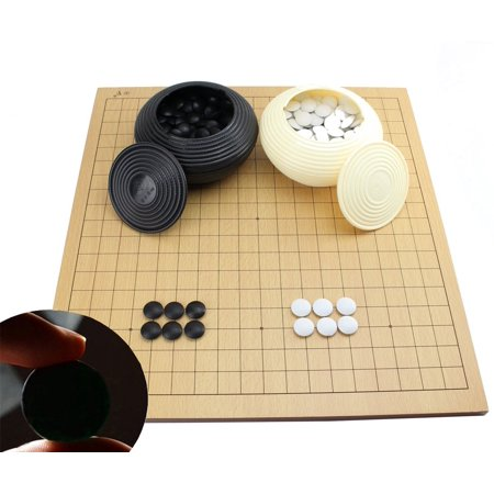 Go Game Set With A Wooden Board Double Convex Plastic Stones And Impressive Game With Stones And Wooden Board