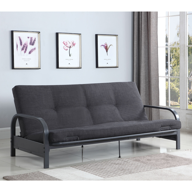 "Coaster 77"" Sofa Bed Futon Frame, Dark Grey (Frame only) by COA INC"