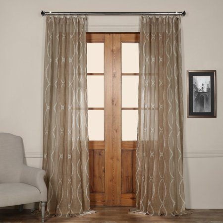 Exclusive Fabrics  Grecian Taupe Printed Faux Linen Sheer Curtain Panel