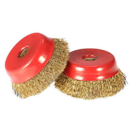 "2pcs 75mm 3"" Steel Wire Wheel Fine Crimp Cup Wheel Brush Rotary Steel Wire Brush For Angle Grinder"