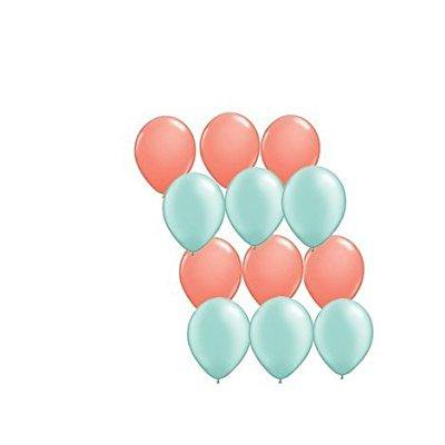 12ct Assorted Mint Green and Coral Latex - Mint Colored Balloons