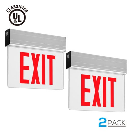 - TORCHSTAR 2 Pack LED Exit Sign with Battery Backup UL-Certified Indicator Exit Light, AC 120V/277V, for Residential and Commercial, Red