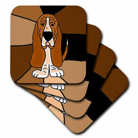 3dRose Funny Basset Hound Puppy Dog Art, Ceramic Tile Coasters, set of 4
