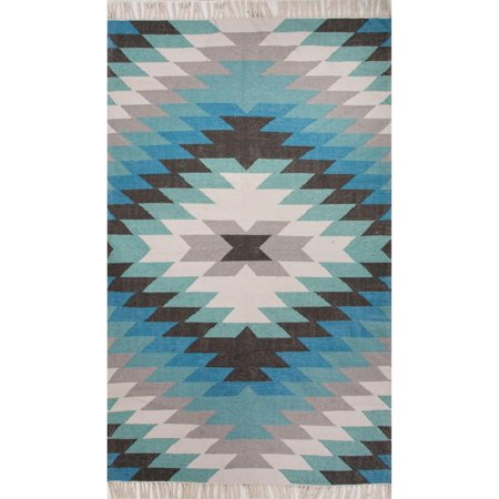 3 5 X 5 5 Teal Ocean  White  Light Gray And Carribean Blue Mojave Outdoor Area Throw Rug