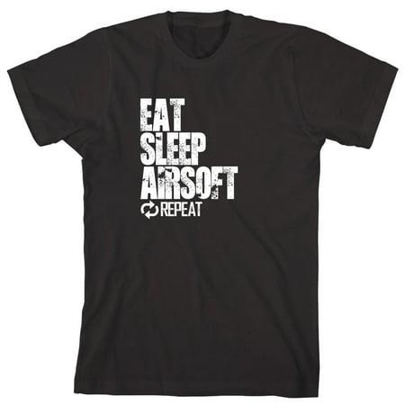 Eat Sleep Airsoft Repeat Men's Shirt - ID: 1121 Air Purple Tee