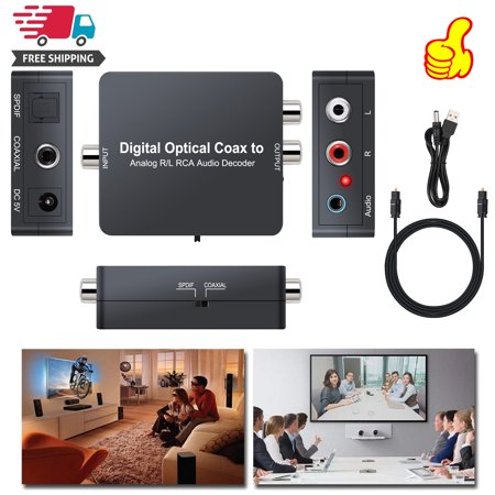 ESYNIC Optical SPDIF Toslink/Coaxial Digital to Analog Audio Decoder Converter Support Dolby Digital, DTS, PCM digital audio (up to 5.1CH) to 2CH analog stereo audio
