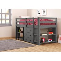 Donco kids PD-760DG Twin Low Study Loft with Desk, Chest & Bookcase - Dark Gray