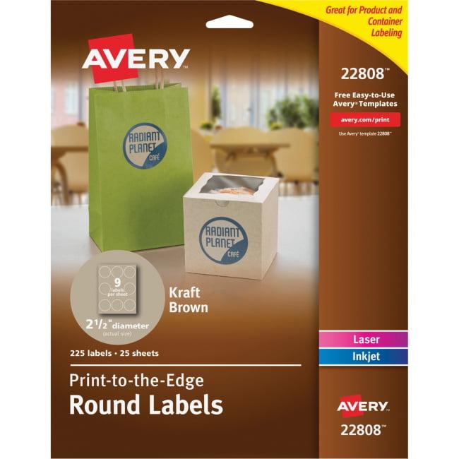 "Avery Kraft Brown Print-to-the-Edge Round Labels - Permanent Adhesive - 2.50"" Diameter - 9 / Sheet - Circle - Laser, Inkjet - Kraft - Paper - 180 / Pack"