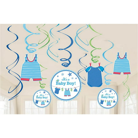 Shower With Love Baby Boy Foil Swirl Decorations (12 Pieces) - Baby Shower Party Supplies