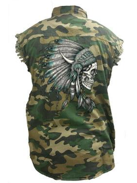 5e786a1499e1f Product Image Men's Camo Sleeveless Denim Shirt Native Chief Skull Denim  Vest