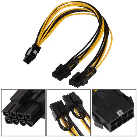 Qiilu 8 Pin Male to Dual 8 (6+2) Pin Female ATX Power Supply Extension Cable Graphics Cord,8pin to dual 8pin power cable, 8pin male to female ATX extension cable - image 3 of 7