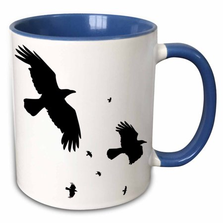3dRose A Murder of Crows- animal, bird, birds, crow, halloween, myth, mythological, mythology, silhouette - Two Tone Blue Mug, 11-ounce](Halloween Murders)