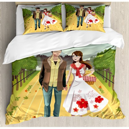 - Boyfriend Queen Size Duvet Cover Set, Illustration of a Joyful Young Couple Walking in a Vineyard in Spring Season, Decorative 3 Piece Bedding Set with 2 Pillow Shams, Multicolor, by Ambesonne