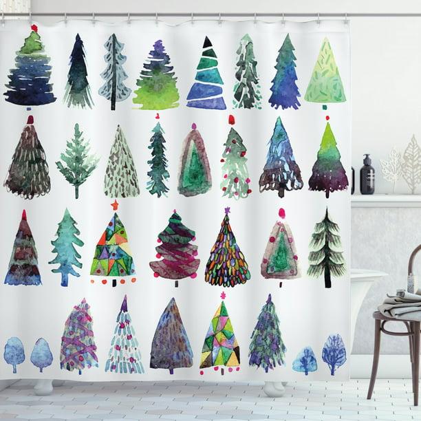 Christmas Traditional Tree Fabric Shower Curtain Bathroom Decoration Festive New