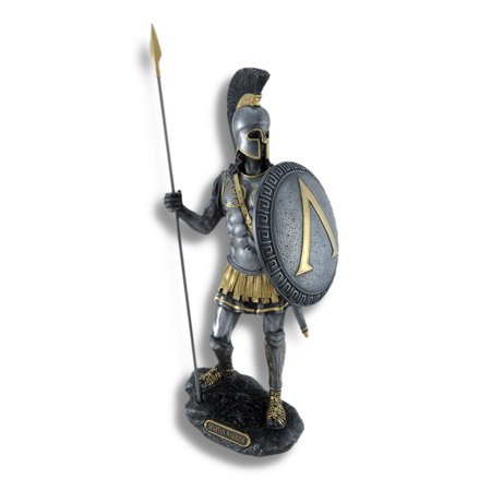 Hoplite Spear - Spartan Warrior with Spear and Hoplite Shield Statue Silvered/Gold Accents