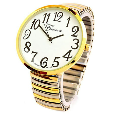 Geneva Bands (2Tone Super Large Face Two Tone Stretch Band Watch)