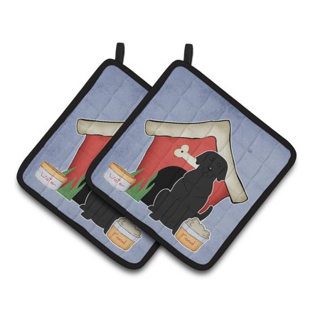 Dog House Collection Black Labrador Pair of Pot Holders