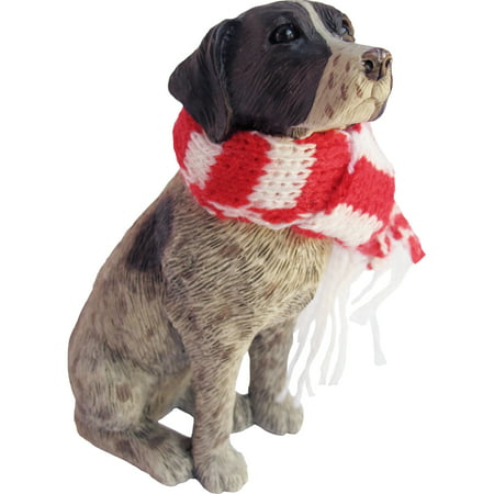 German Shorthaired Terrier (Sandicast Sitting German Shorthaired Pointer with Scarf Christmas Dog)