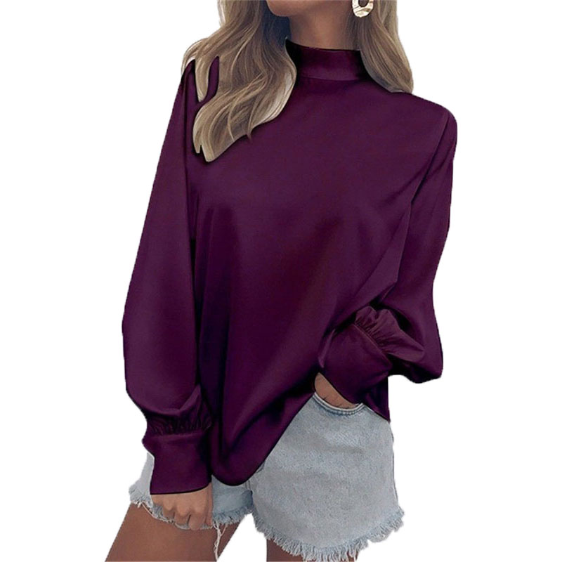New Casual Women Blouse Pure Color Long Sleeve Ladies Top T Shirt Loose Tops
