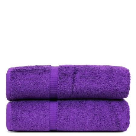 Luxury Hotel Spa Towel Turkish Cotton Bath Towels Eggplant Dobby Border Set Of 2