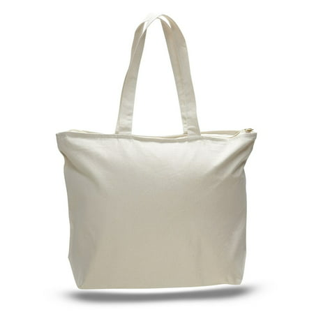 Heavy Canvas Tote Bag with Zip Top Classic Top Zip Shoulder Bag