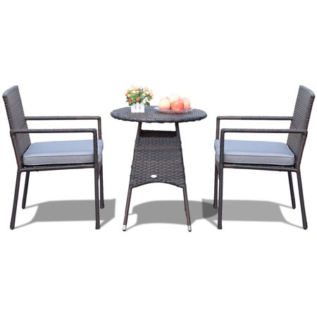 Costway 3pcs Patio Furniture Set Outdoor Bistro Rattan Wicker Cushioned Seat - image 9 de 10