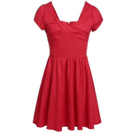 Clearance! Woman Vintage Dress Plus Size ( Cap Sleeve V-Neck High Stretchy Swing Pinup Pleated) FSBR