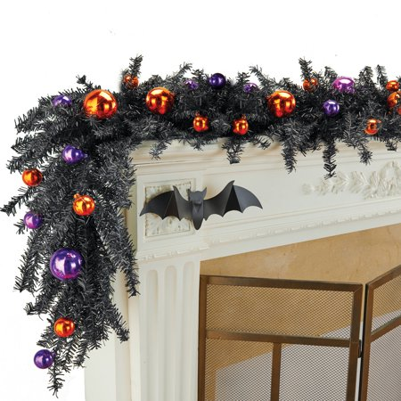 Halloween Garland with Festive Purple and Orange Ornaments on Black Branches, Indoor or Outdoor Home - Indoor Halloween Decorations