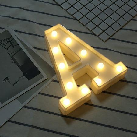 Alphabet LED Letter Lights Light Up White Plastic Letters Standing Hanging A (Light Up Plastic)