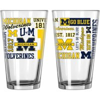Boelter Brands NCAA Set of Two 16 Ounce Spirit Pint Glass Set, University of Michigan Wolverines
