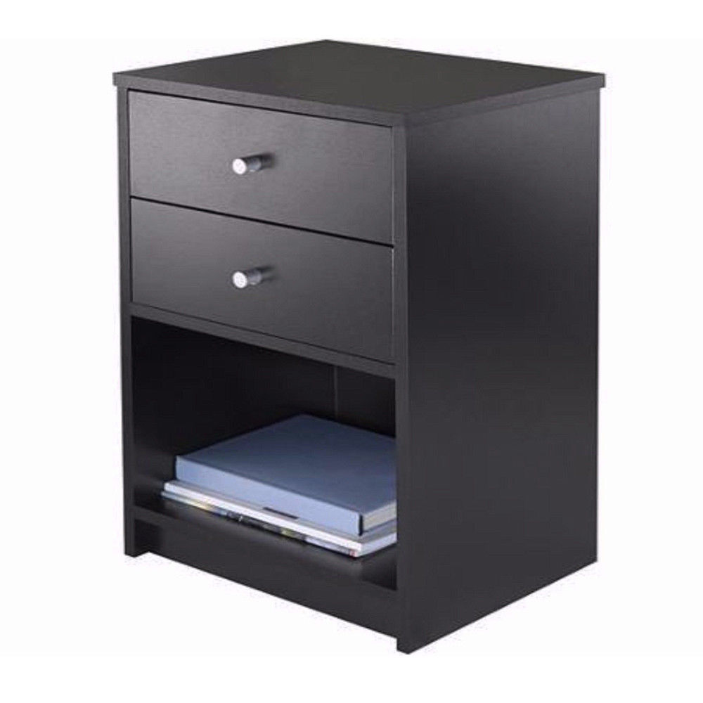FCH UBesGoo 2 Drawers Wooden Nightstand in Black Finish Bedside Table Bedroom Best Furniture