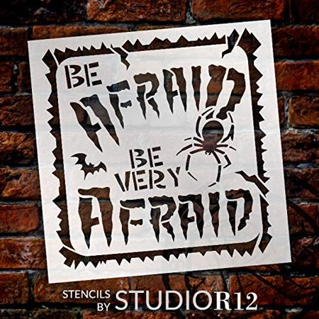 Spider Crafts For Halloween (Be Very Afraid Stencil with Border by StudioR12 | DIY Spider & Bat Halloween Party & Home Decor | Craft & Paint Wood Sign | Select Size (18 x 18)