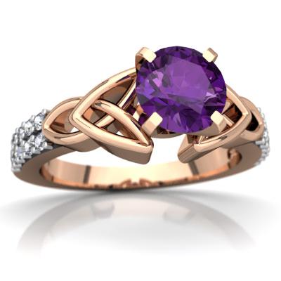 Amethyst Celtic Knot Engagement Ring in 14K Rose Gold