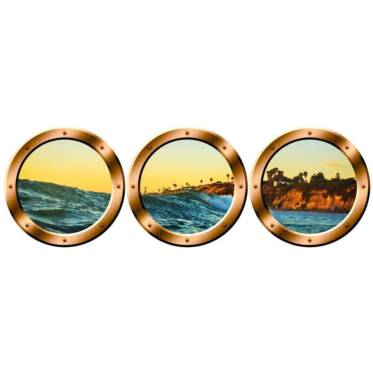 "VWAQ Wall Art Decor - Submarine Porthole Decal, Nature Scenery Prints - VWAQ-SPW12 (14"" Diameter, Gold)"