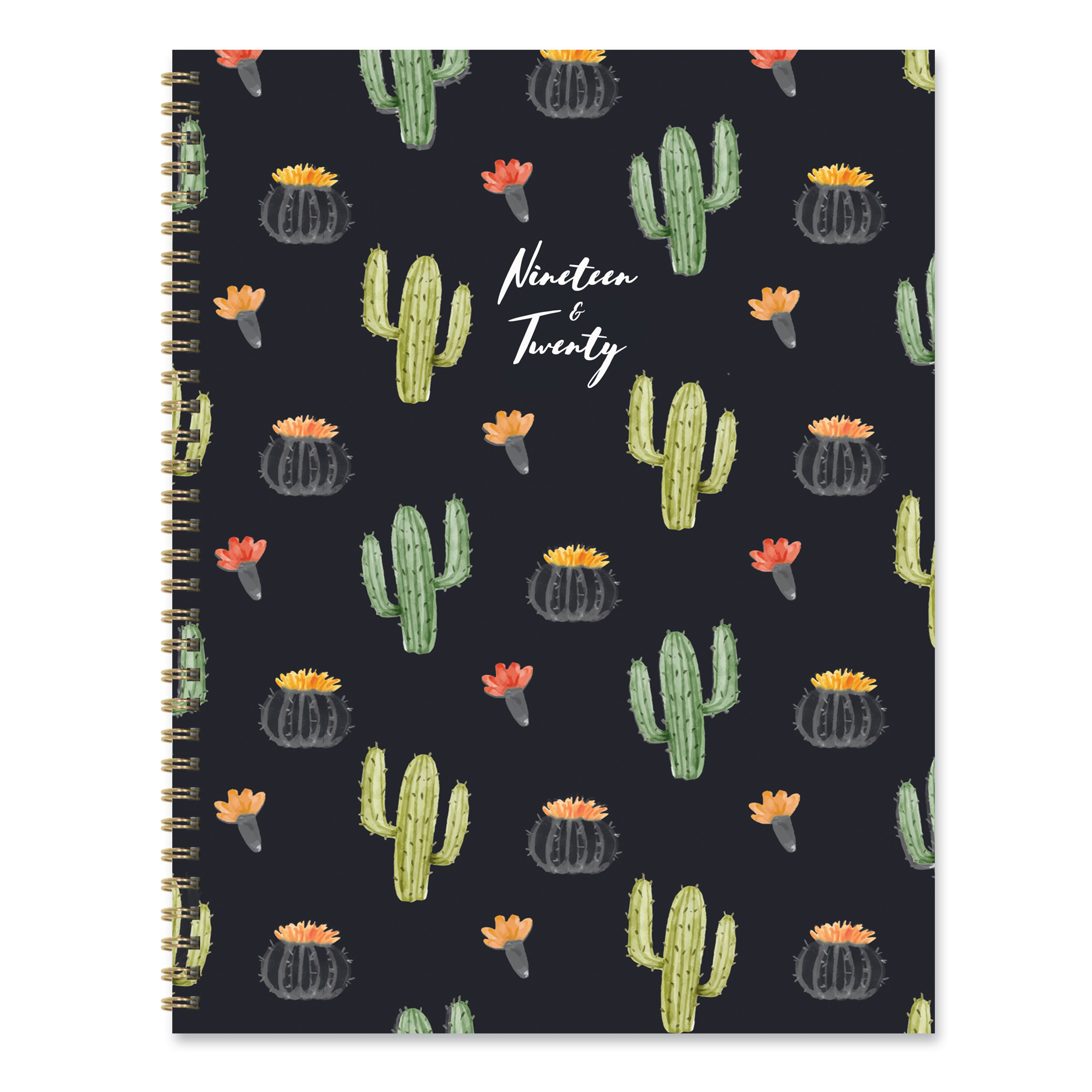 photo about Large Daily Planner identify July 2019 - June 2020 Black Cactus Massive Everyday Weekly Month-to-month Planner