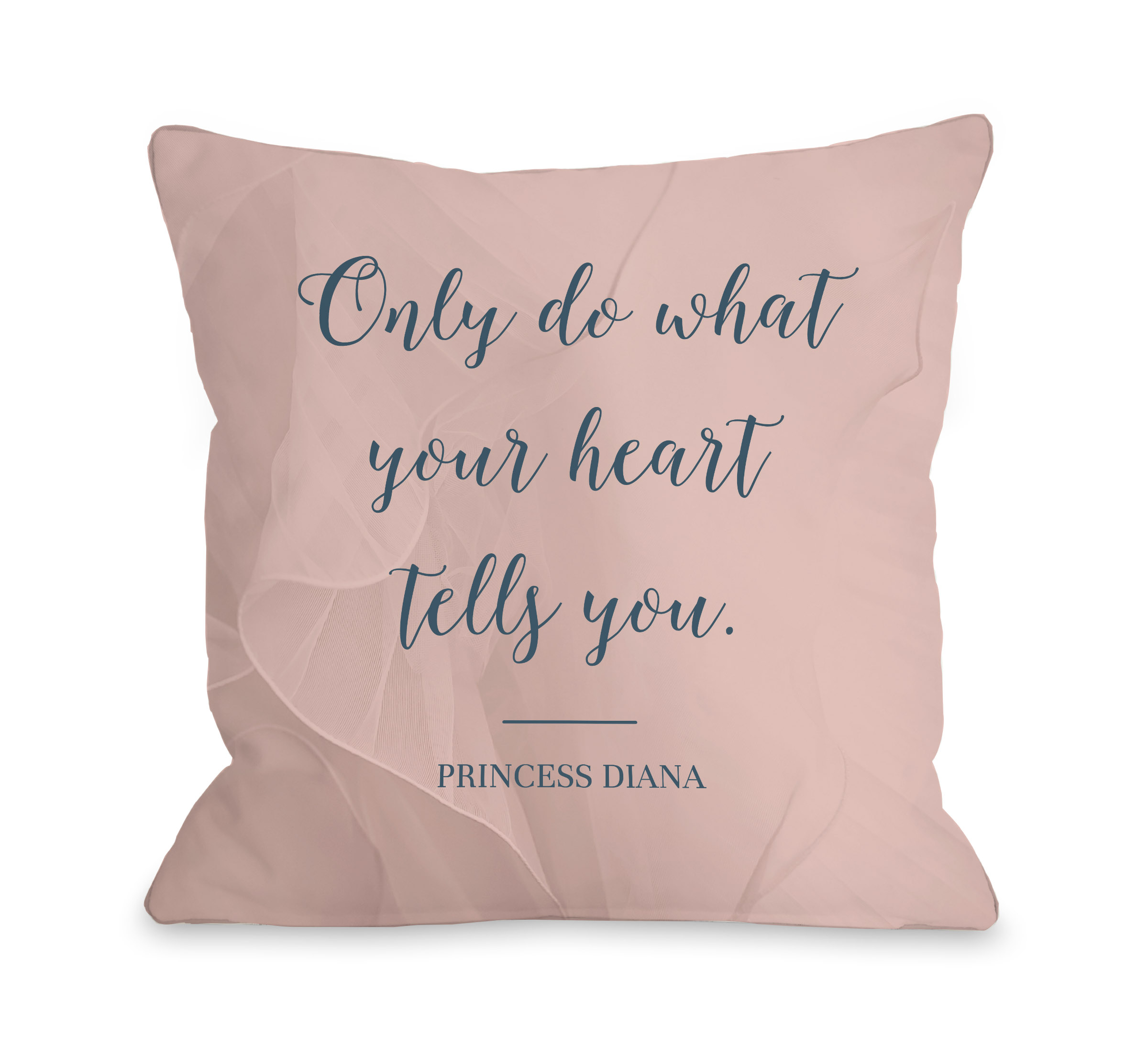 What Your Heart Tells You - Blush Navy 18x18 Pillow by OBC