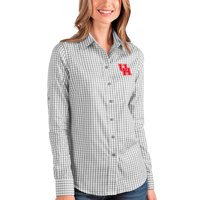 Houston Cougars Antigua Women's Structure Button-Up Shirt - Gray/White