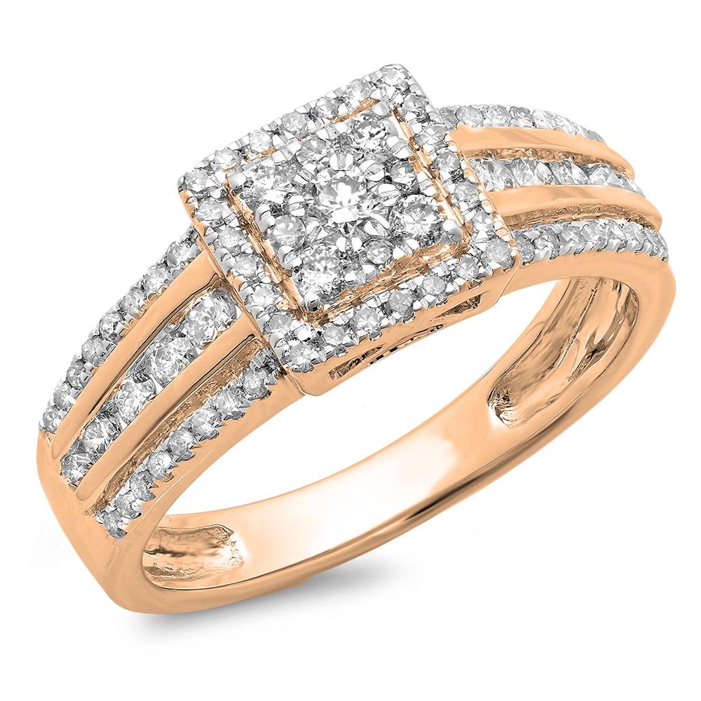 Dazzling Rock 0.75 Carat (ctw) 18K Rose Gold Round Cut Di...