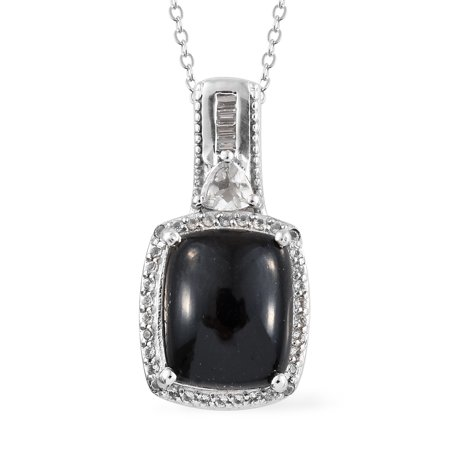 Silver Platinum Plated Black Jade White Topaz Pendant with chain 20