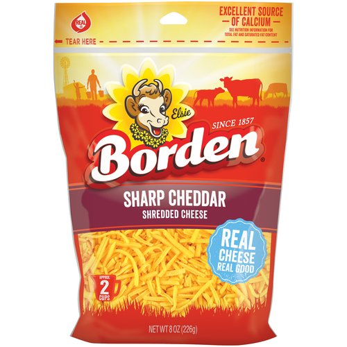Borden Natural Shredded Sharp Cheddar Cheese, 8 oz